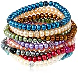 Honora Freshwater Cultured Pearl and Crystal Stretch Bracelet Set, 7.5""