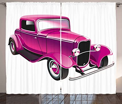 Amazon.com: Ambesonne Hot Pink Curtains, Vintage Muscle Car ...