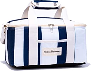 Business & Pleasure Co. Cooler Bag - Tote Your Lunch in Style, Insulated Lining Keeps Food Cold, 12 Can Capacity, Cute Lunch Bag for Women in Navy Crew Stripe