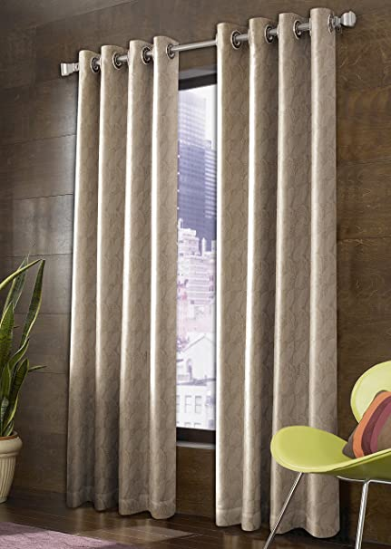 Super India Sheer 2 Piece Polyester Door Curtain Set - 7 ft, Cream