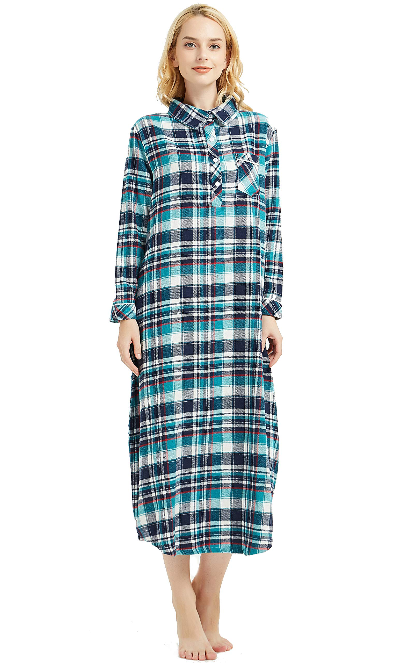 4629219841 Amoy madrola Women s Long Sleeve Plaid Flannel Nightgown Cotton Full Length  Sleepwear SY291-Green-M