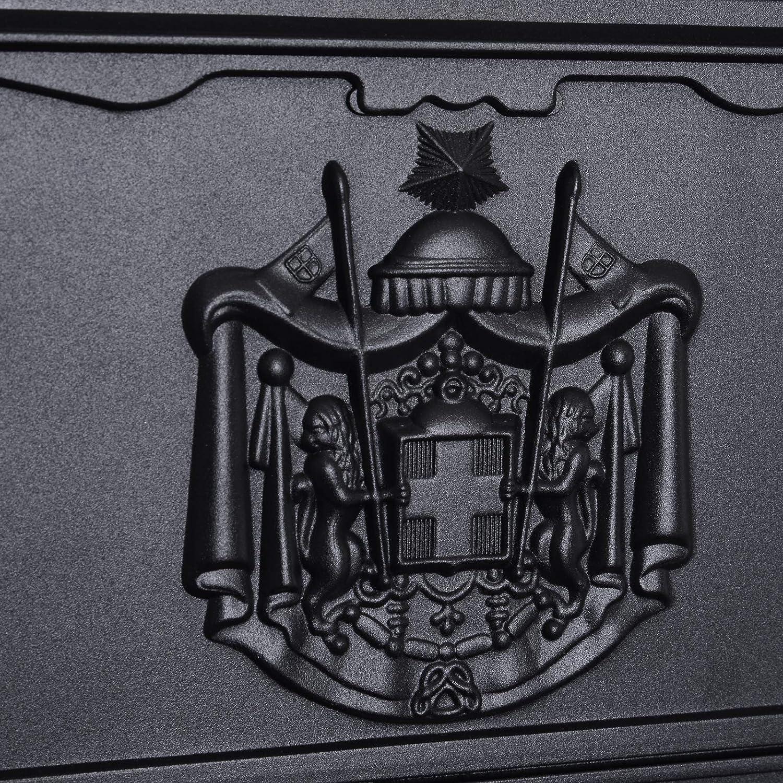 Homcom Bo/îte aux Lettres Vintage bo/îte aux Lettres pour Jardin 26L x 9l x 41H cm Grand Format Serrure /à cl/és Noir