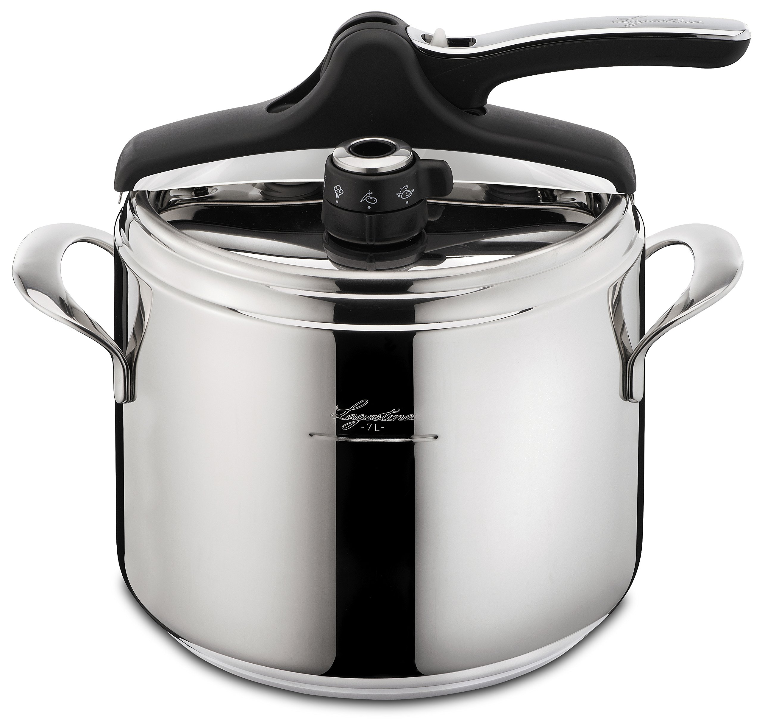 Lagostina Q5510664 Domina Vitamin Polished Stainless Steel Induction Safe 6 / 10-PSI Pressure Cooker Cookware, 7.4-Quart, Silver