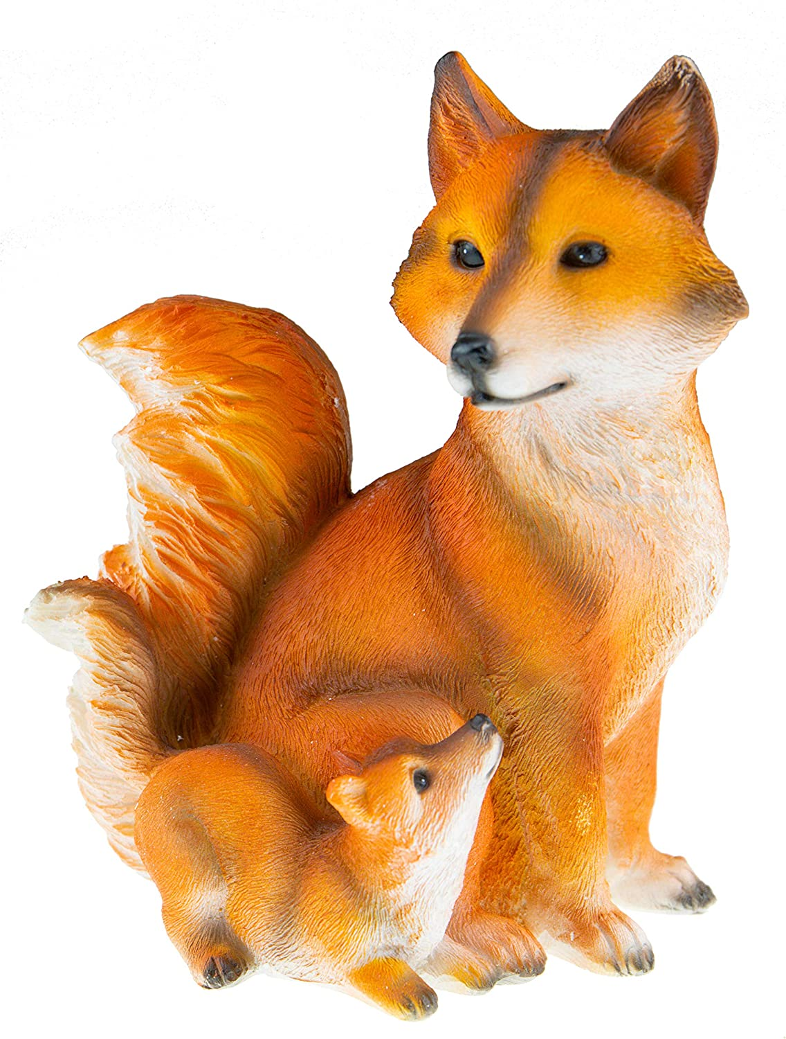 Cute Fox Family Resin Garden Statue Decoration | Outdoor Lawn Yard Polyresin Animal Figurine Sculpture Ornament Décor