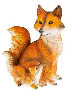 Cute Fox Family Resin Garden Statue Decoration | Outdoor Lawn Yard Polyresin Animal Figurine Sculpture Ornament Décor