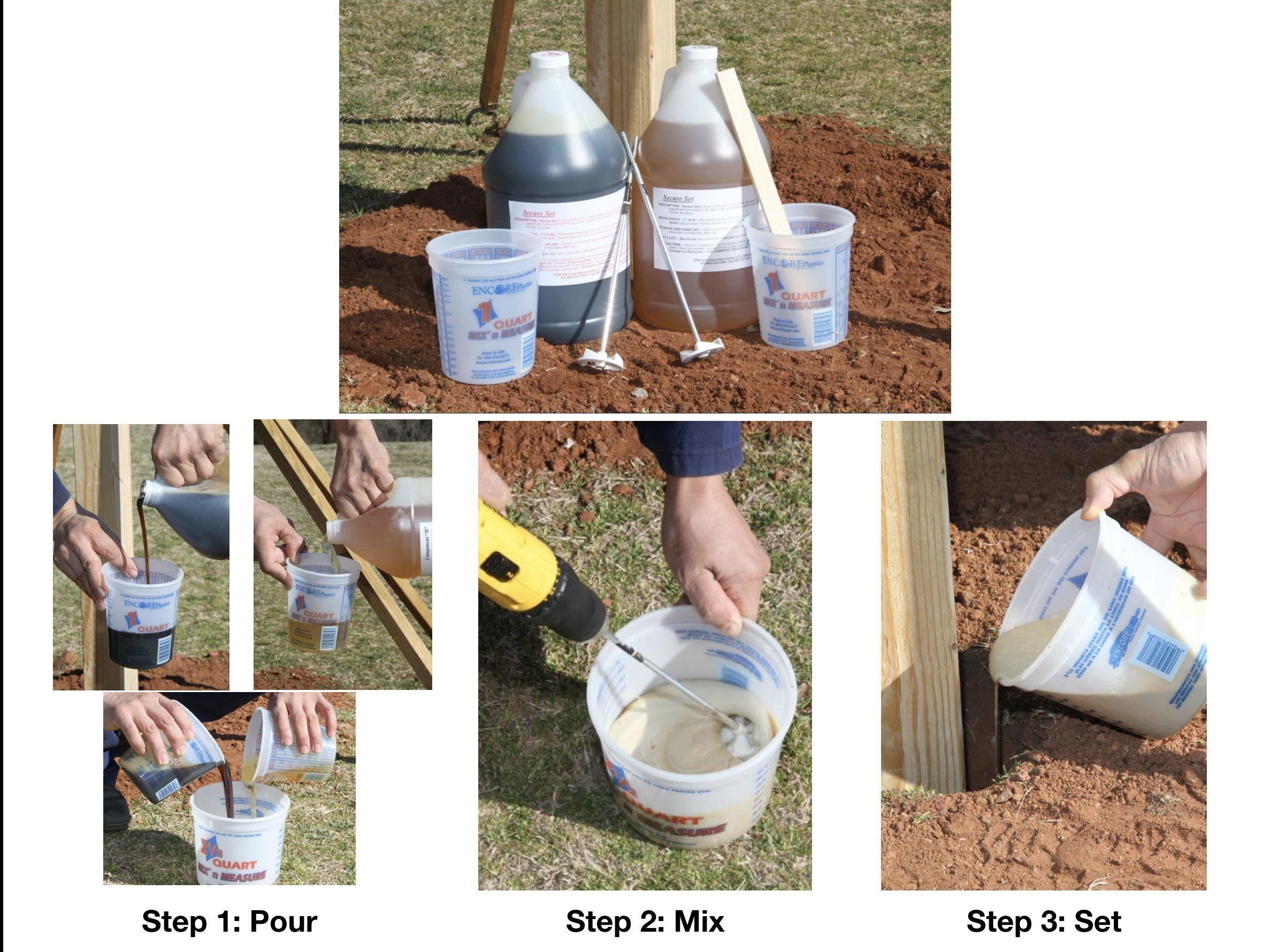 Secure Set - 10 Post Kit - Commercial Grade -2 Gallons. Fast, Secure & Safe Concrete Alternative for Easy Fence Post Installation. by Secure Set (Image #2)
