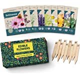 100% Edible Flower Seeds for Planting - Certified Organic Seeds - 9 Flower Garden Non GMO Plant Seed Packets & Plant Markers