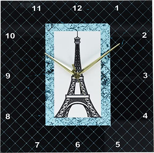 3dRose DPP_124525_2 Turquoise Eiffel Tower on a Diamond Pattern Background Wall Clock, 13 by 13-Inch