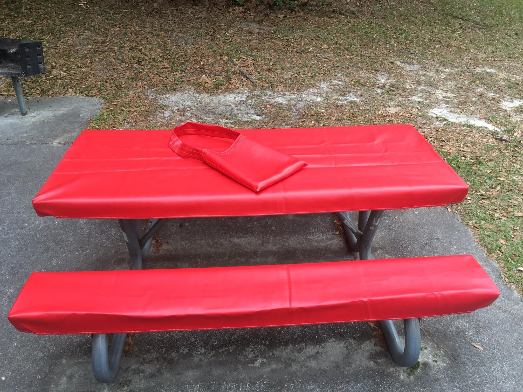 Table Gloves- Worlds Finest, Most Heavy Duty, Fitted Marine Grade Vinyl Picnic Table Cover Sets- Hand Made in The U.S.A. - Great for Camping or Full Time RV Living-(8 Foot Set- Classic Red) by Table Gloves (Image #2)