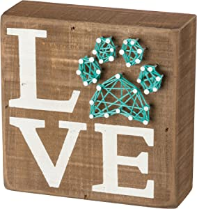 Primitives by Kathy Box Sign - Pet Love with String Art Paw Print - 5 inch square