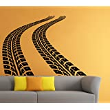 Car Traces Wall Vinyl Decal Tire Tracks Sticker Art Mural Home Removable Decor (4dtrk)