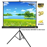Inlight Cineview Series Tripod Projector Screen, 120 Inch Dia., 8 Ft x 6 Ft, 4:3, 1080P Ultra HD 3D-4K, with Stand(White)