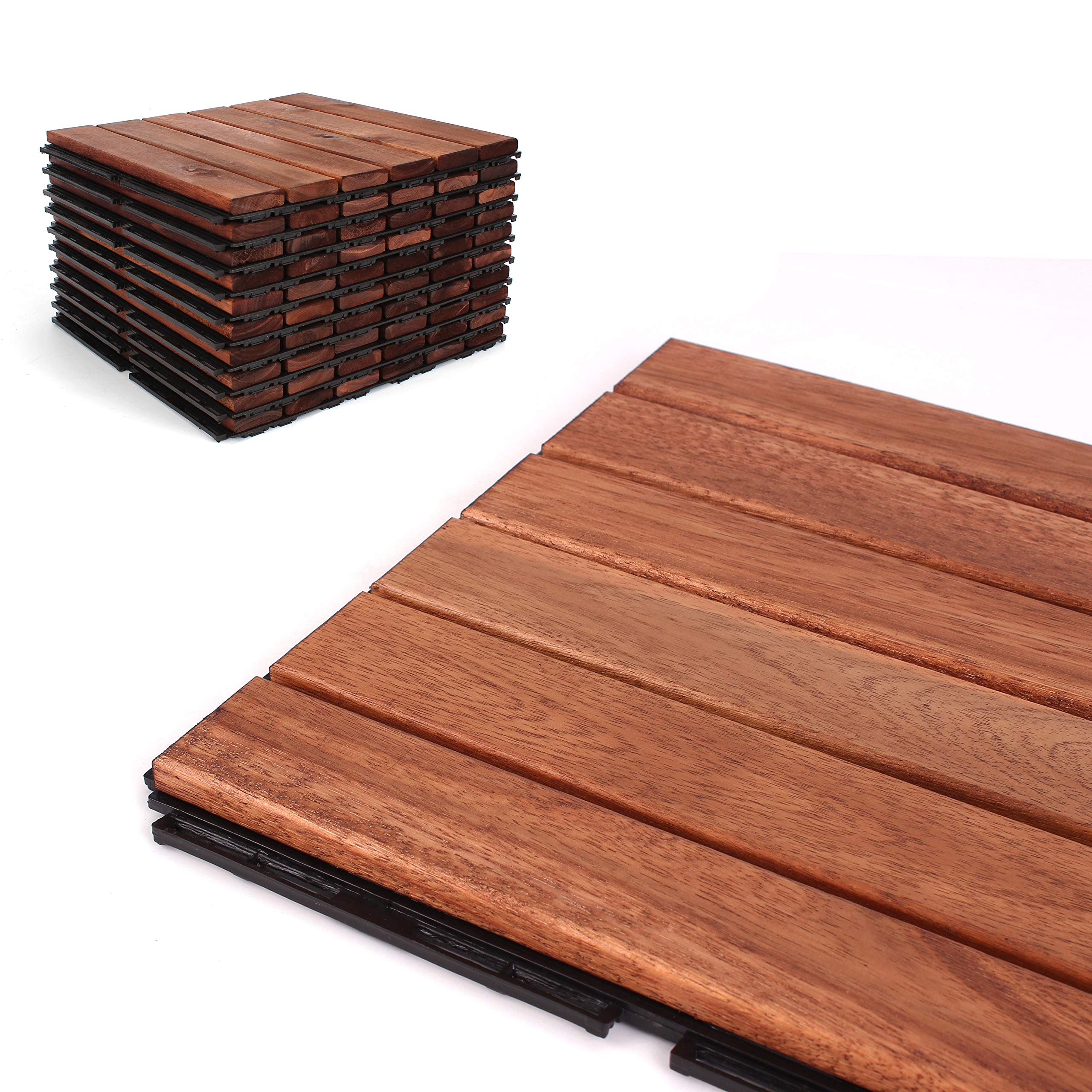 Deck Tiles - Patio Pavers - Acacia Wood Outdoor Flooring - Interlocking Patio Tiles - 12''x12'' (10 Pack) - Oiled Acacia Finish - Straight Pattern Decking