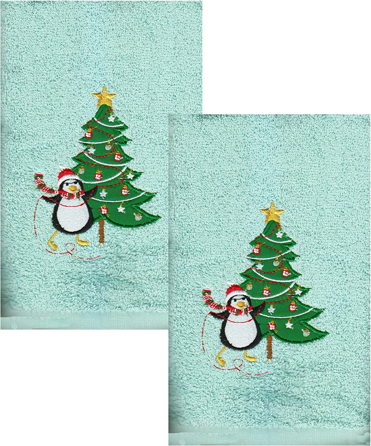 Amazon Com Nantucket Christmas Towels Aqua Blue Bath Hand Towel Set Of 2 Embroidered Penguin Appliqued Tree Decorative Design For Bathroom Decorating For The Holidays Kitchen Dining