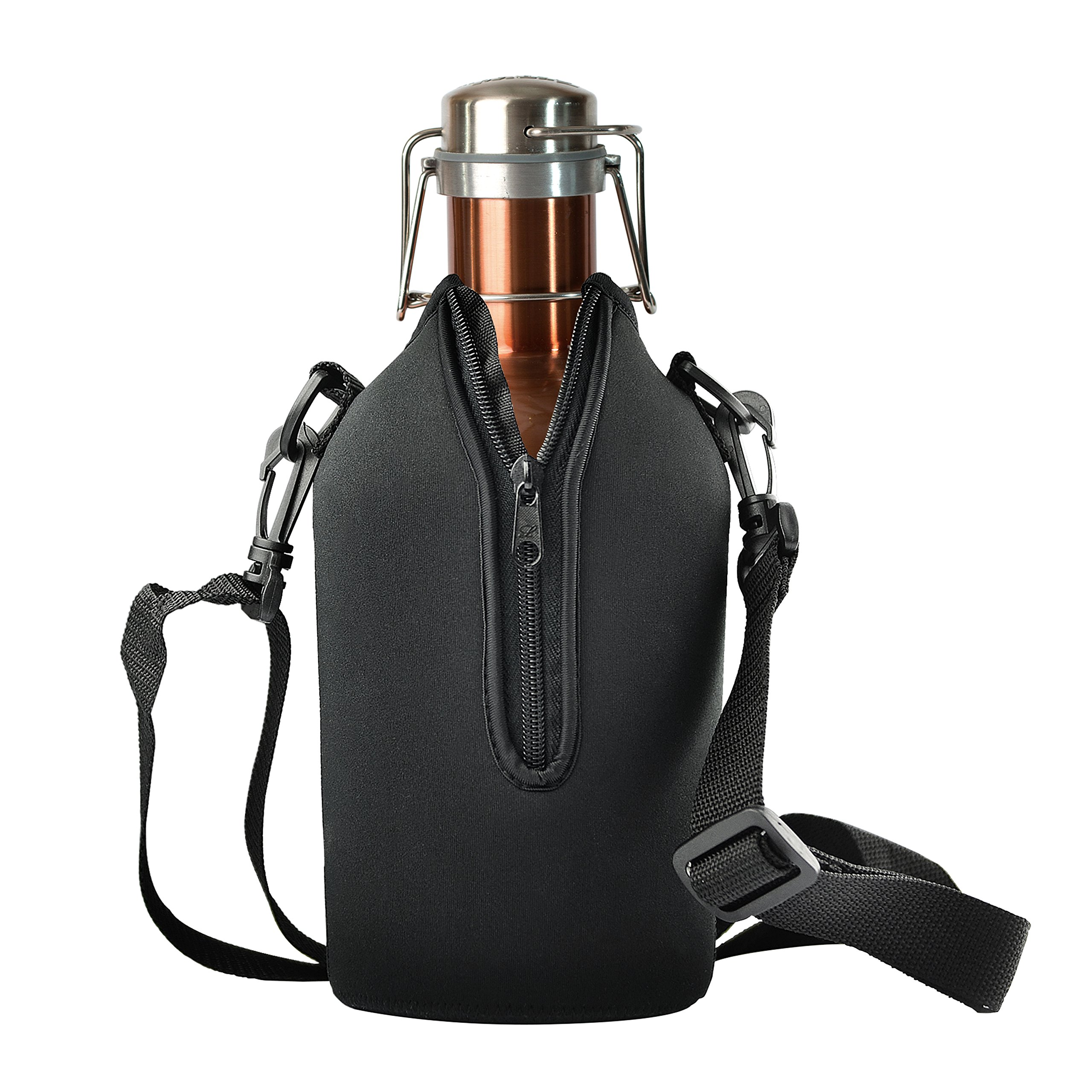 Asobu Stainless Steel 64 Ounce Beer Growler with an Insulating and Protective Neoprene Sleeve (Copper)