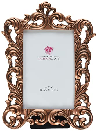 fashioncraft vintage copper color baroque design frame 4 x 6