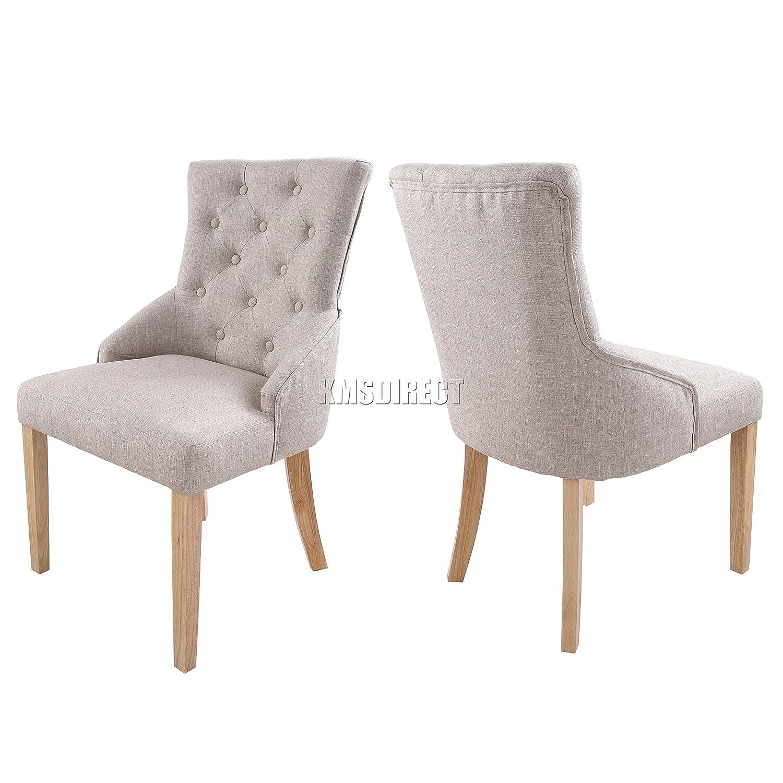 FoxHunter Furniture Set of 2 Premium Cream Linen Fabric Dining