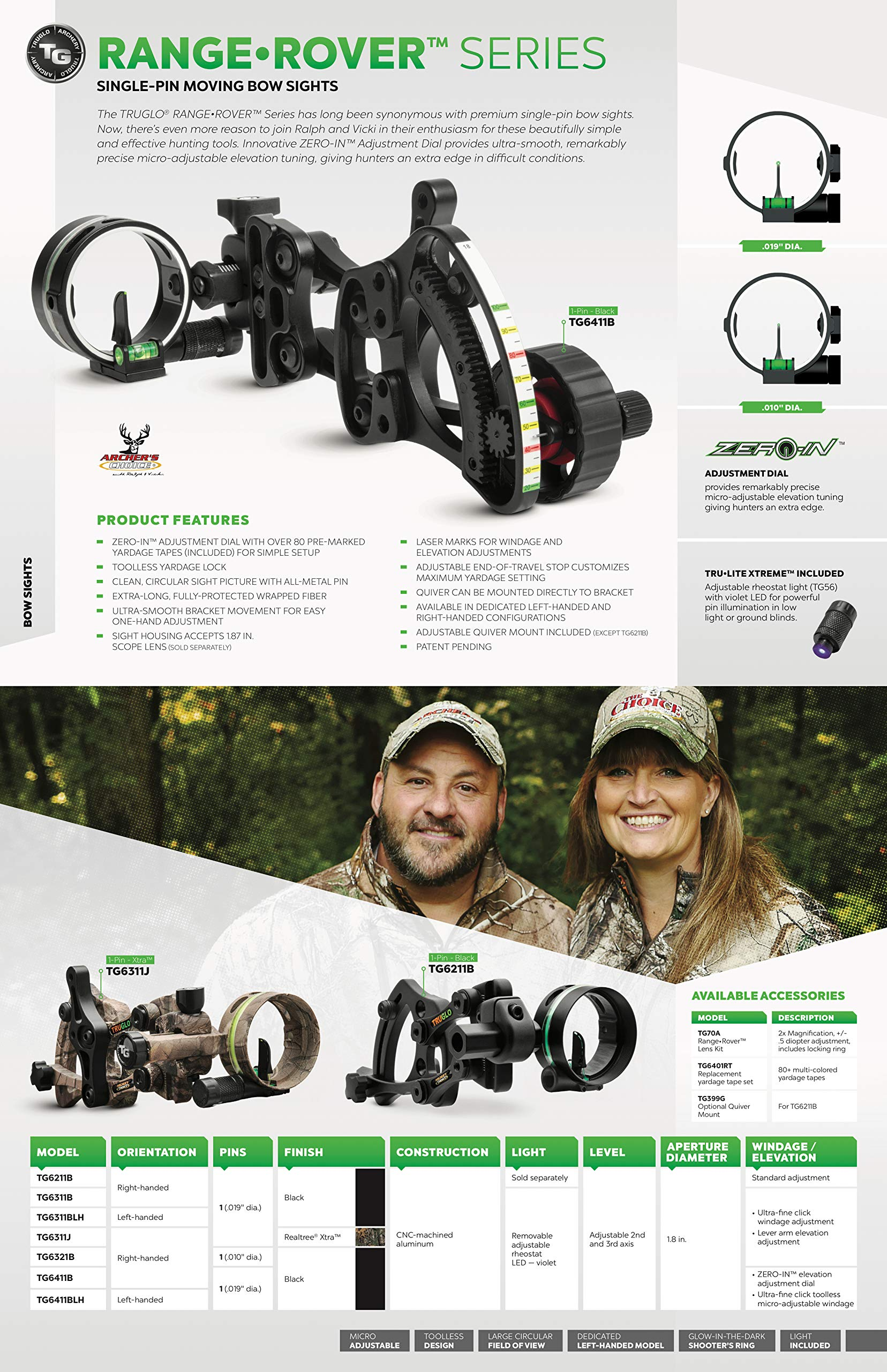 TRUGLO RANGE-ROVER Series Single-Pin Moving Bow Sight, Black, Left-Handed, .019'' Pin, Toolless Micro-Adjustable Windage by TRUGLO (Image #7)