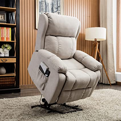 CANMOV Power Lift Recliner Chair with Remote Control, Heavy Duty Reclining  Sofa Soft Fabric Living Room Chair for Elderly with Plush Padding Seat ...