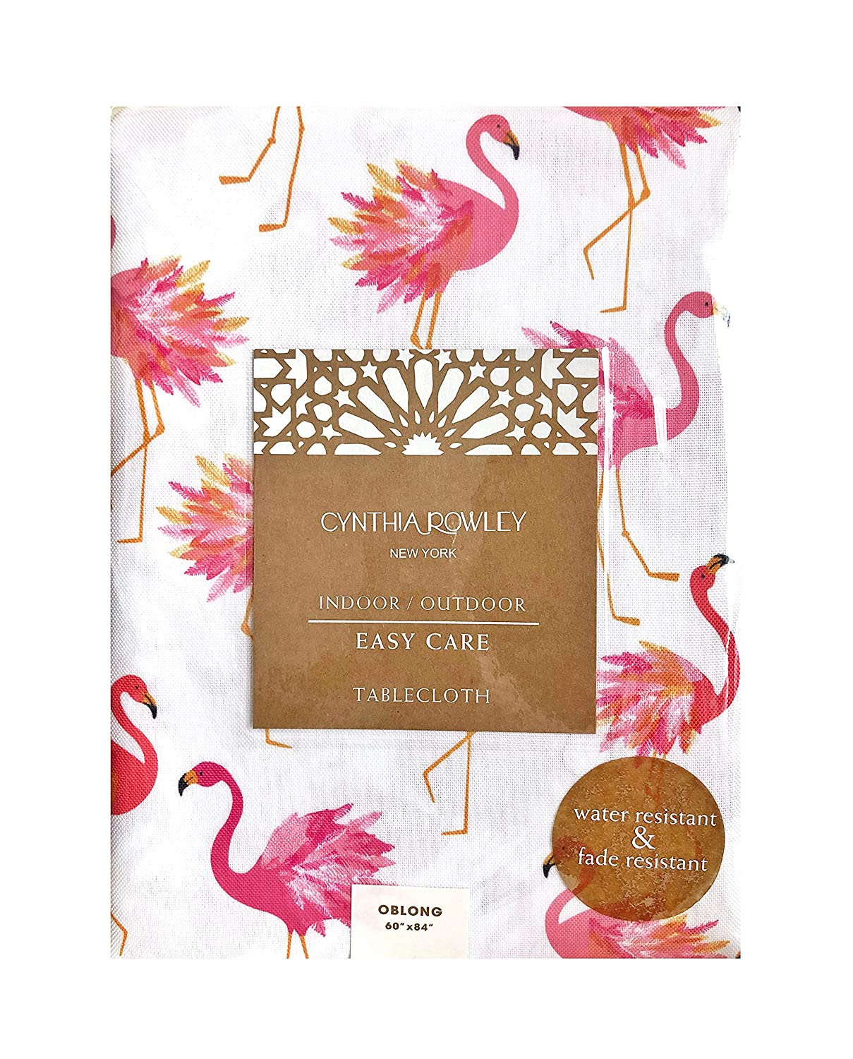 Easy Care Polyester 60 x 120 Cynthia Rowley Indoor//Outdoor Fabric Tablecloth Featuring Pink Flamingos