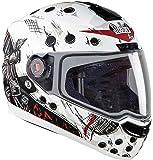 Steelbird Air Dunkin Helmet with Plain Visor (Matt White and Red, M)
