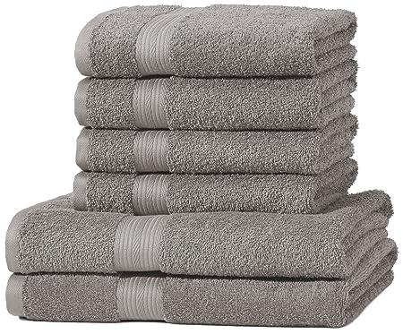 AmazonBasics - Juego de toallas (colores resistentes, 2 toallas de baño y 4 toallas de manos), color gris: Amazon.es: Hogar