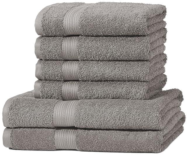 187 opinioni per AmazonBasics- Set di 2 asciugamani da bagno e 4 asciugamani per le mani che non