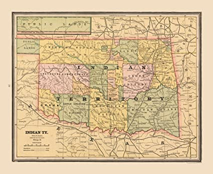 Amazoncom Maps Of The Past Old State Maps Indian Territory Us - Us-indian-territory-map