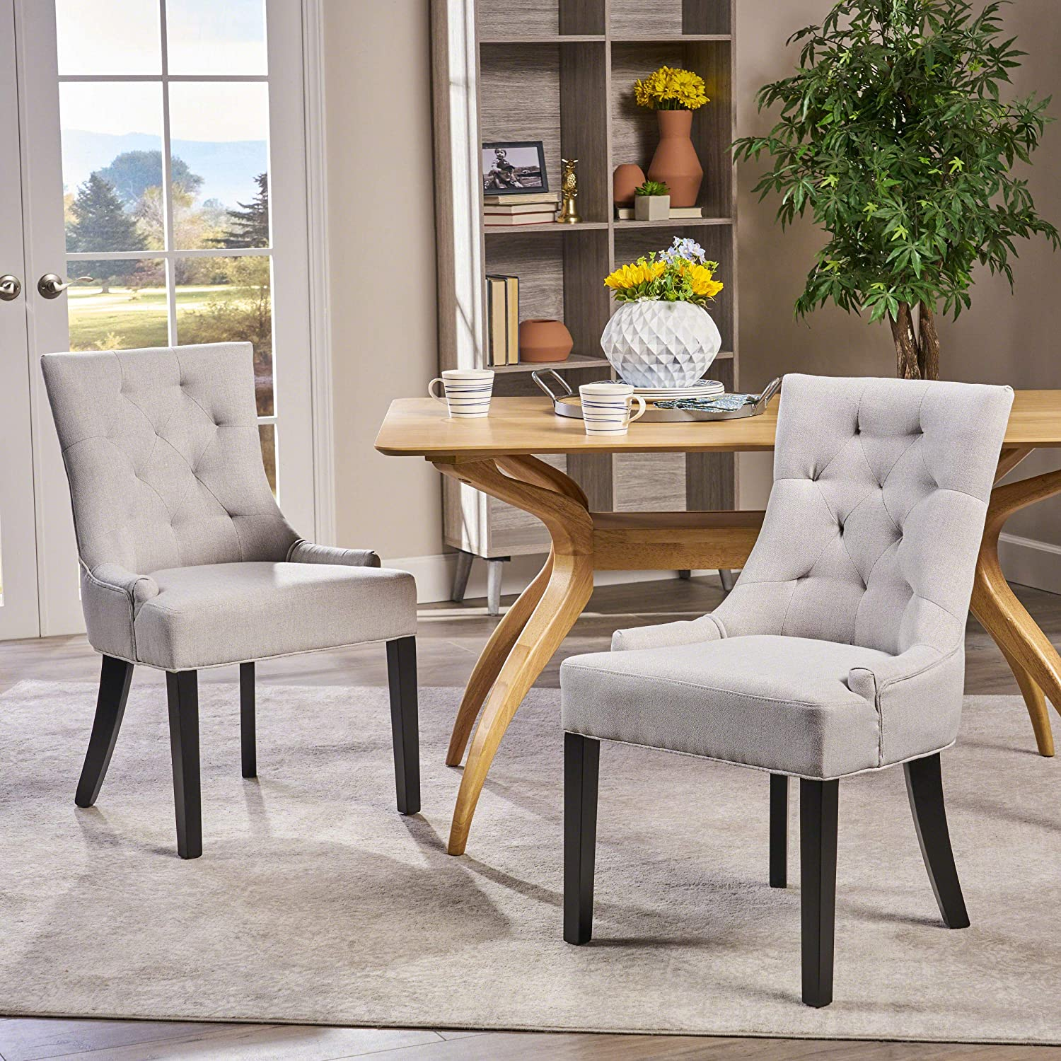 Christopher Knight Home Hayden Fabric Dining Chairs Set of 2 , Light Gray