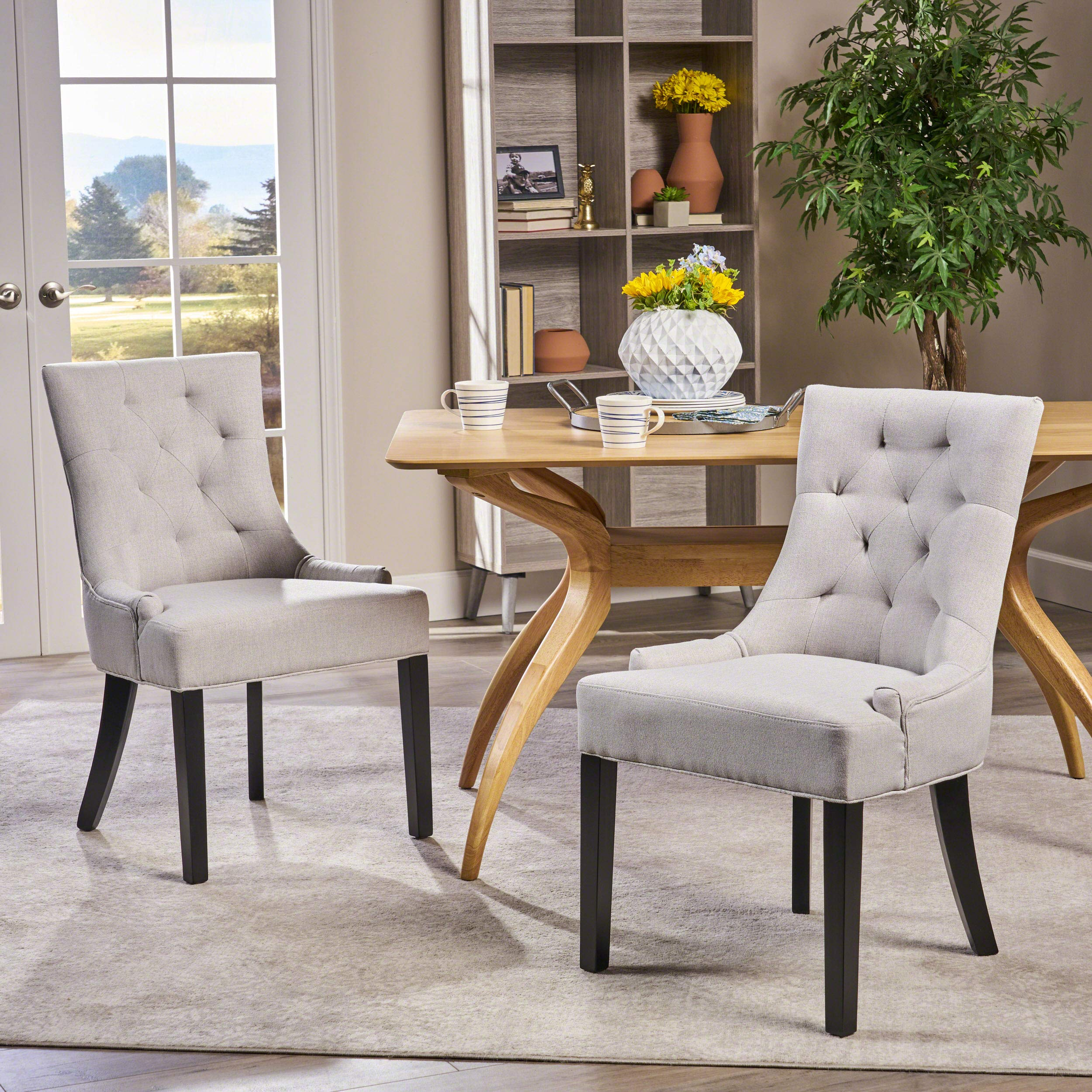 Christopher Knight Home 299538 Hayden Fabric Dining Chairs (Set of 2), Light Gray by Christopher Knight Home