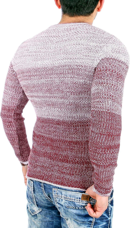 Reslad Strick-pullover Herren Crewneck Herren-Pullover Pulli meliert RS-3105