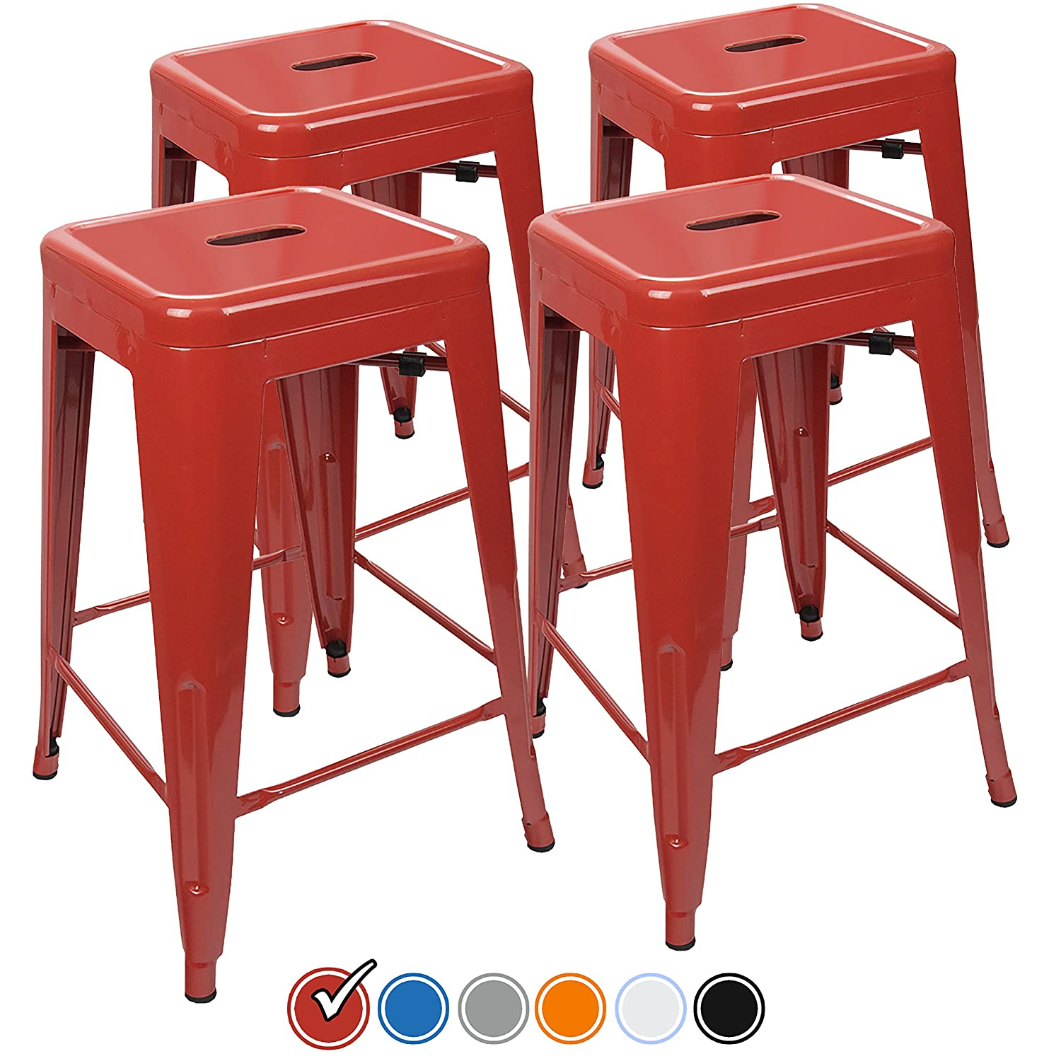 Surprising Urbanmod 24 Inch Bar Stools For Kitchen Counter Height Indoor Outdoor Metal Set Of 4 Red Pdpeps Interior Chair Design Pdpepsorg