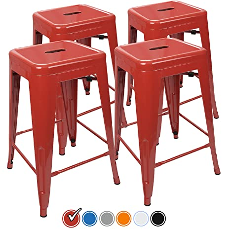 Marvelous Urbanmod 24 Inch Bar Stools For Kitchen Counter Height Indoor Outdoor Metal Set Of 4 Red Gmtry Best Dining Table And Chair Ideas Images Gmtryco