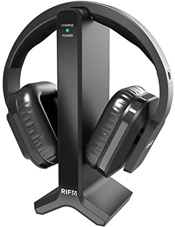 tv ears amazon. rif6 wireless headphones for tv with rf transmitter watching and listening hard of hearing tv ears amazon
