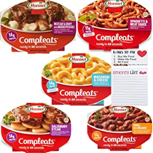 Hormel Compleats Ready to Eat Meals Variety Pack of 5 | Microwavable Ready Meals | Pre Packaged Meals Ready in 60 Seconds | Magnetic Shopping Pad by Snack Fun