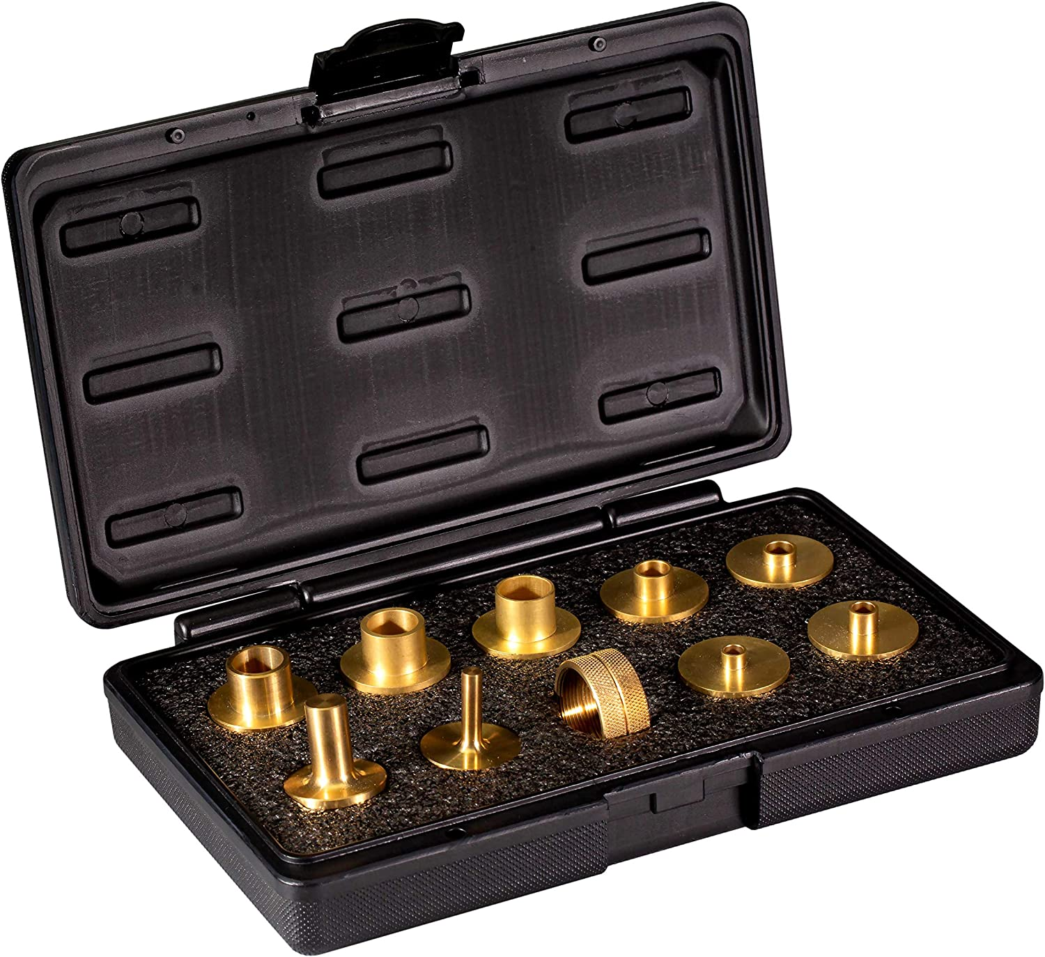 POWERTEC 71221 11-Piece Brass Router Guide Bushing Set   Pro Style Router Template Kit with Shank Bit Set and Lock Nuts