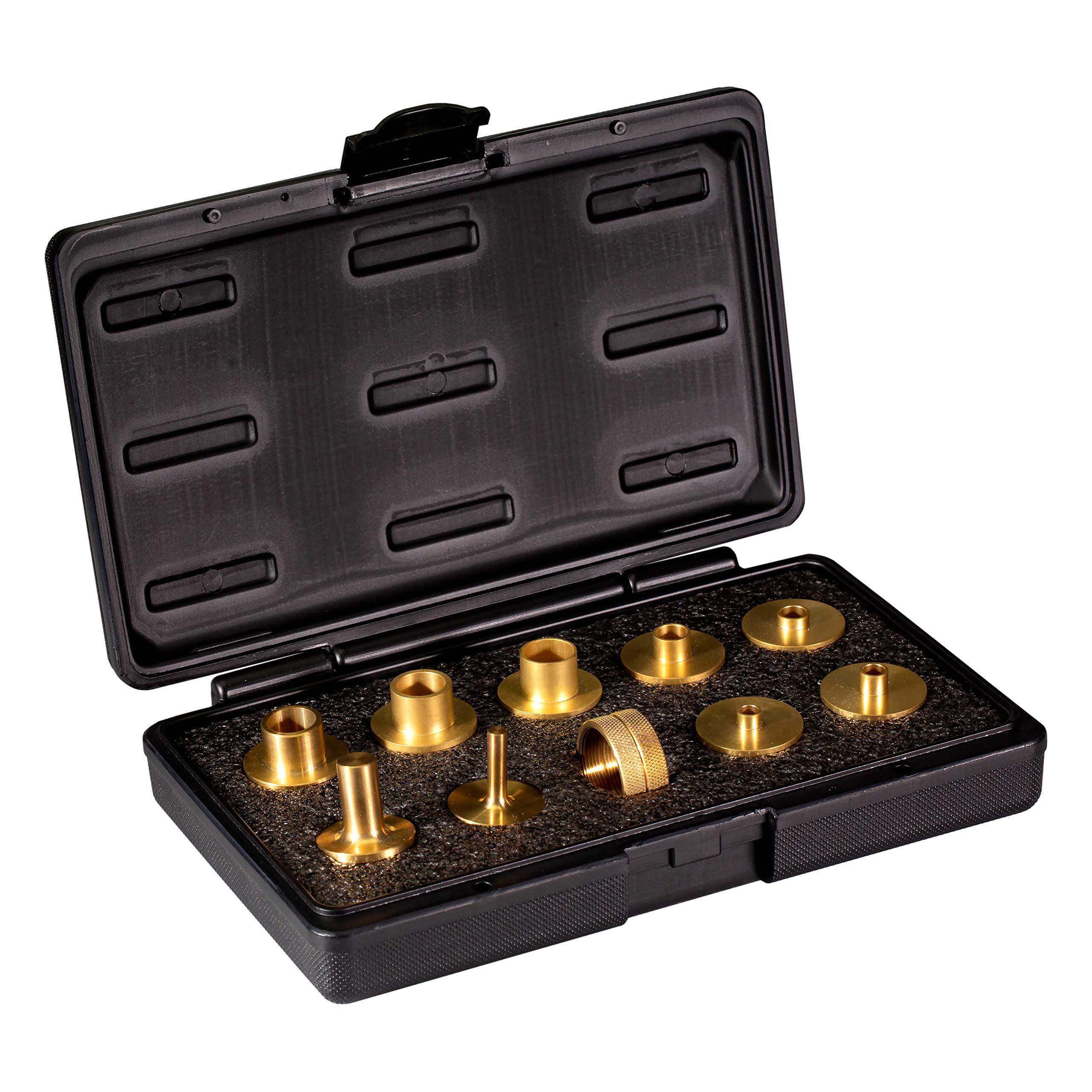 POWERTEC 71221 11-Piece Brass Router Guide Bushing Set | Pro Style Router Template Kit with Shank Bit Set and Lock Nuts by POWERTEC