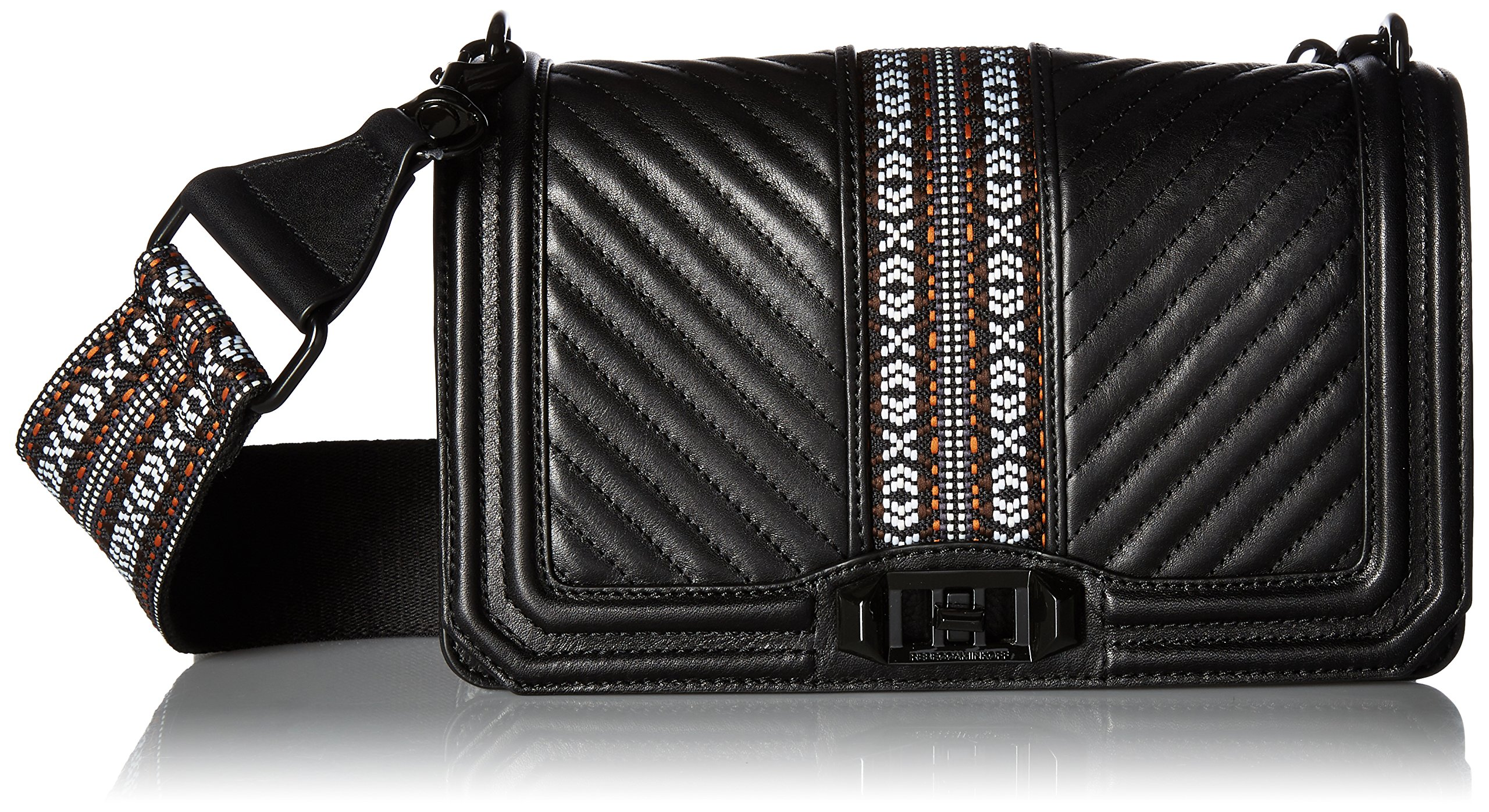 Rebecca Minkoff Jacquard Love Crossbody with Guitar Strap, Black