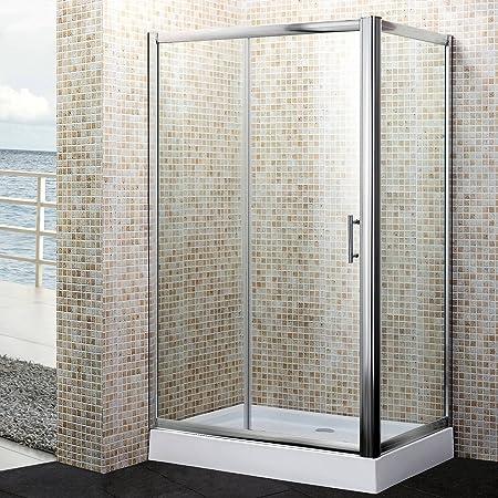 MondoDoccia® - Mampara de ducha de 3 hojas, de cristal transparente, de 80 x 120 x 80 cm, mod. Yadira: Amazon.es: Hogar