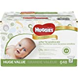 HUGGIES Natural Care Baby Wipes, 3 Refill Packs (648  Sheets), Fragrance-free, Alcohol-free, Hypoallergenic, Safe for Newborns and Sensitive Skin