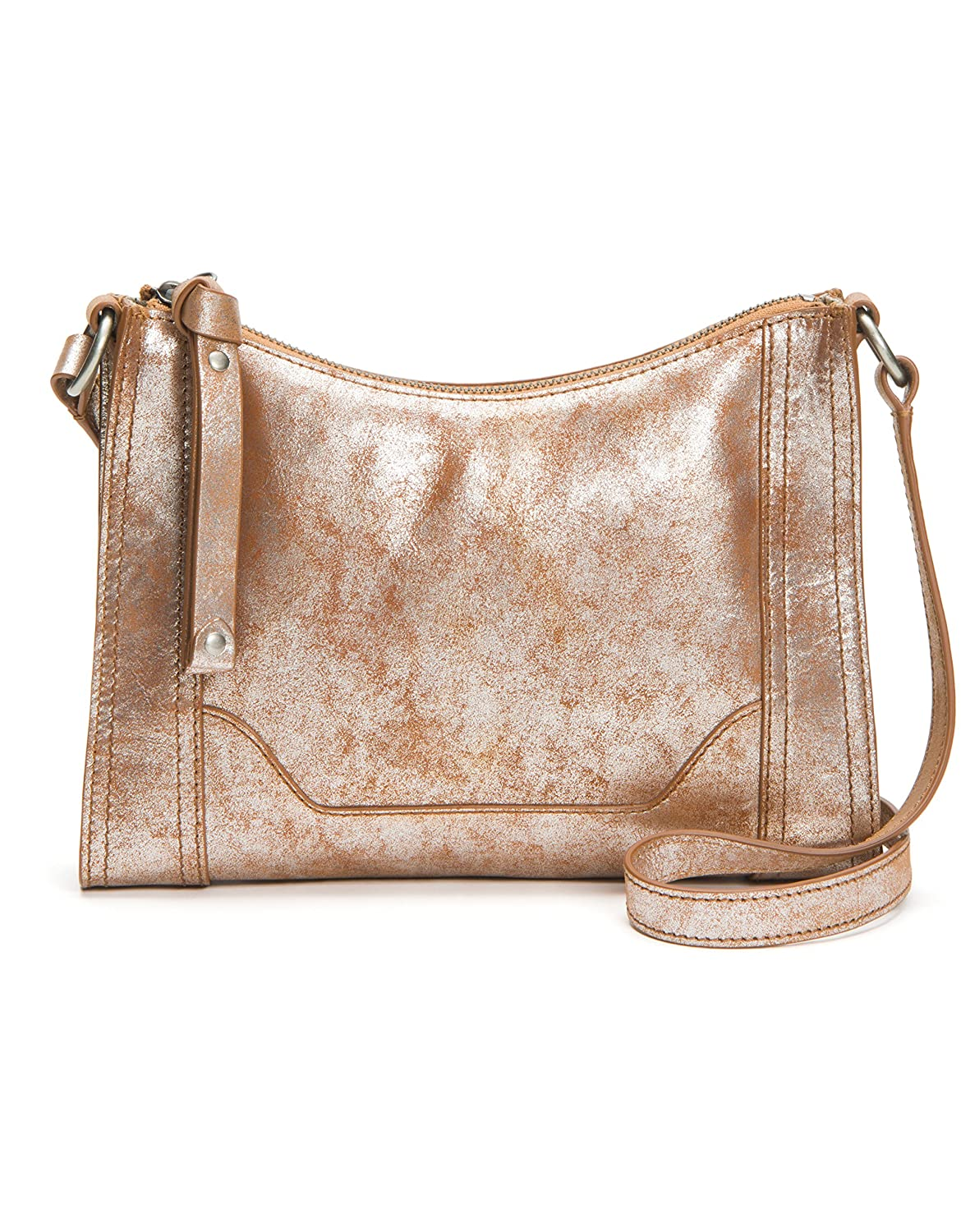 Frye Melissa Zip Leather Crossbody Bag Beige DB770