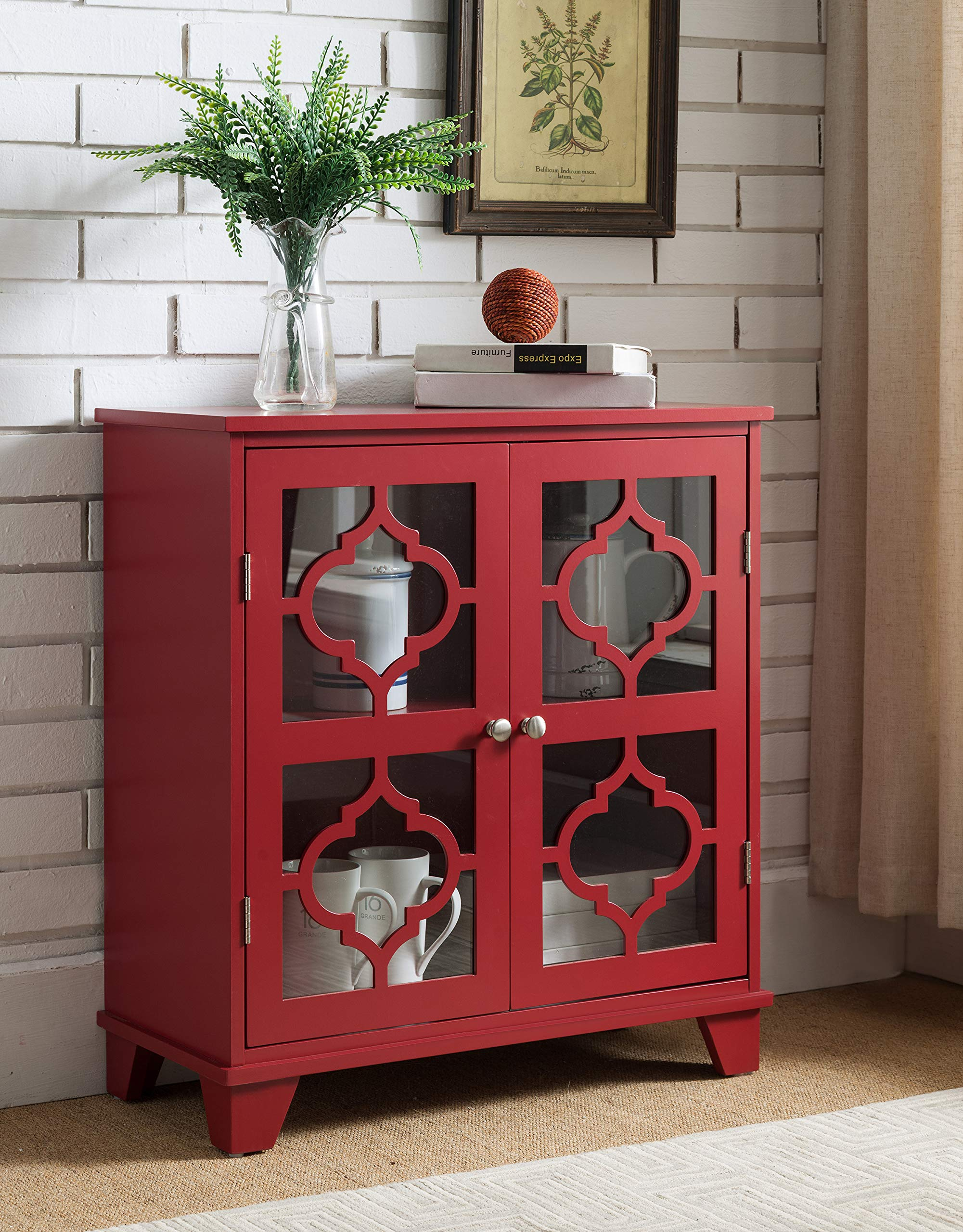 Kings Brand Furniture Red Finish Wood Buffet Cabinet Console Table by Kings Brand Furniture (Image #1)