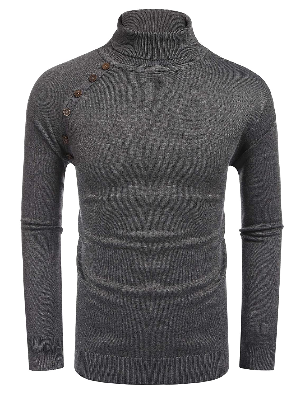COOFANDY Men's Knitted Ribbed Turtleneck Pullover Sweaters with Buttons XSJ006561