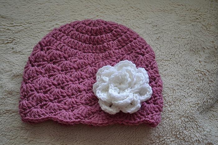 1b47c1418 Amazon.com: Crochet baby hat, baby girl hat, pink baby beanie ...