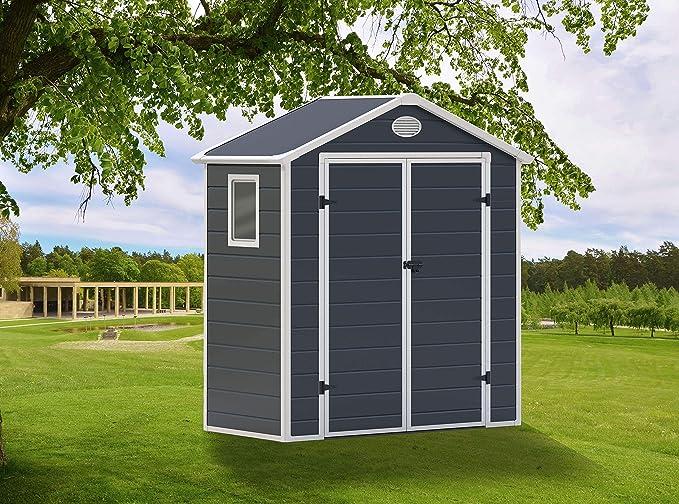 GARDIUN Caseta de Resina Arabela Antracita/Blanco 1, 92 m² Extrior - KSP38120: Amazon.es: Jardín
