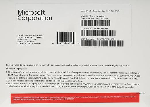 Microsoft Windows 8.1 Home - Software Sistema Operativo, 64-bit