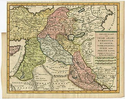 Amazon Com Antique Map Holy Land Israel Palestine Iraq Iran Cyprus