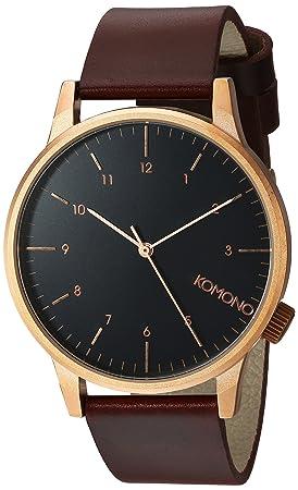 Komono Reloj Analógico de Cuarzo Unisex con Correa de Cuero - KOM-W2265: Amazon.es: Relojes