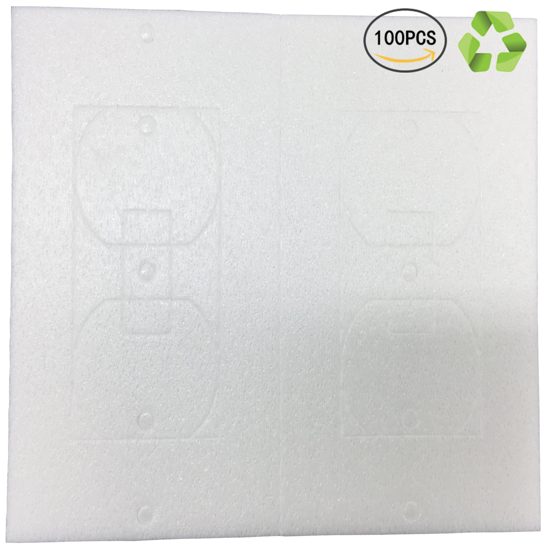 Birllaid Foam Outlet Insulation Gasket Socket Outlet Sealers 100-Pack