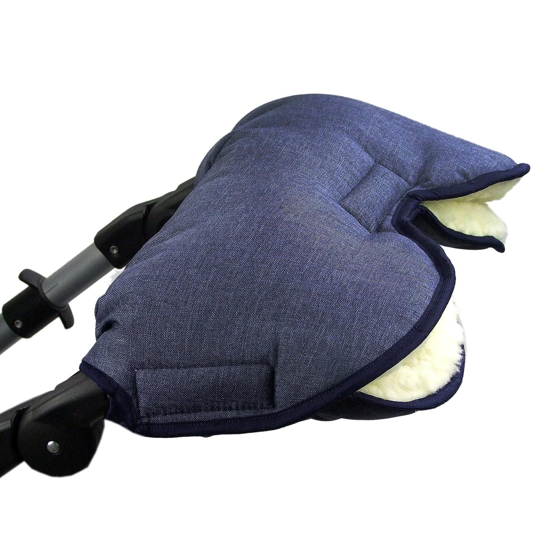 Bambini MONDO universale Muff//scaldamani per carrozzina passeggino Jogger con lana screziato blu marino